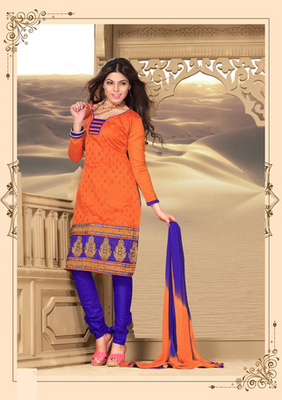 orange Fancy Dress Material with matching duppata