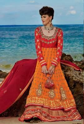 Orange Georgette Sleeves Net Dress materail