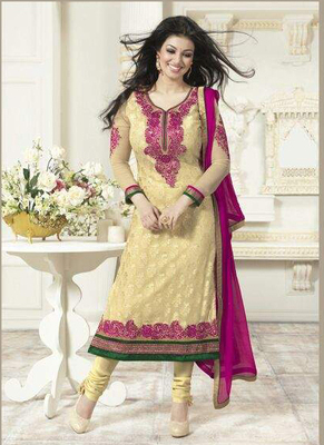 Yellow Georgette Dress Material