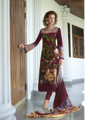 Brown Cotton Dress Material