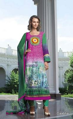 Green Cotton Dress Material
