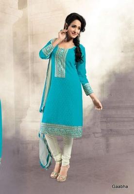 Blue Georgette Semi Stitch Dress