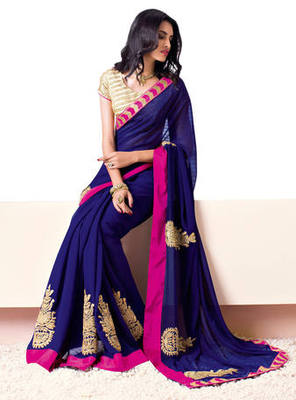 Blue Border Worked Chiffon Saree With Blouse