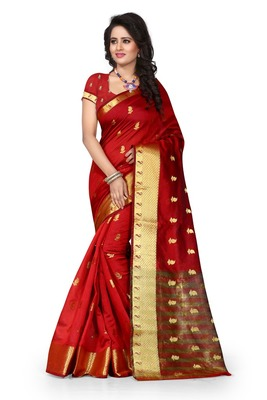 Red tussar silk saree with blouse