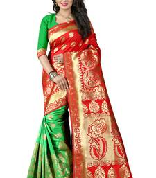 Buy Red poly cotton saree with blouse hand-woven-saree online