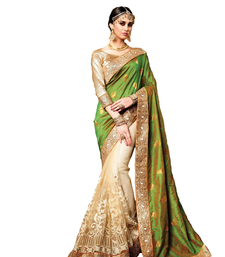 Buy Green georgette saree with blouse hand-woven-saree online