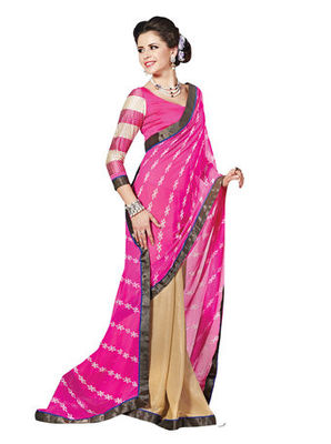 Magenta Printed Faux Georgette Saree With Blouse