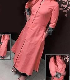 Buy peach plain stitched cotton-kurtis cotton-kurti online