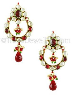 Maroon Red Jadau Kundan Dangle and Drop Earrings Jewellery for Women - Orniza