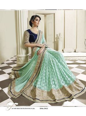 Sky blue embroidered faux georgette saree with blouse