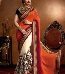 Buy Orange embroidered faux georgette saree with blouse karwa-chauth-saree online
