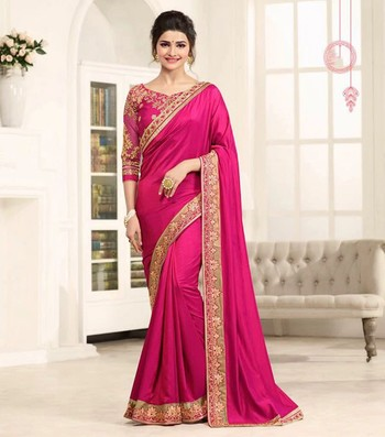 Pink embroidered faux georgette saree with blouse