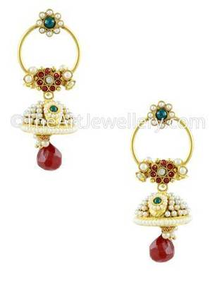 Ruby Red Traditional Rajwadi Jhumki Earrings Jewellery for Women - Orniza