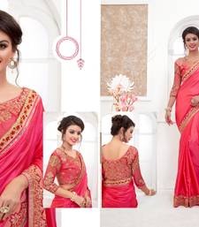 Buy Pink embroidered silk saree with blouse karwa-chauth-saree online