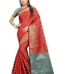 Buy Red plain banarasi silk saree with blouse karwa-chauth-saree online
