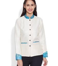 Buy Ivory dupion silk plain ethnic jackets ethnic-jacket online