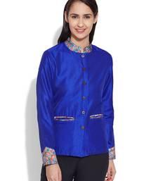 Buy Blue dupion silk plain ethnic jackets ethnic-jacket online