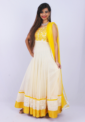 Yellow Cream Peta Machine Thread Embroidery Anarkali