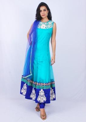 Blue Net Ghera Embroidery Sheer Neck Anarkalis
