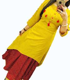 Buy Yellow plain cotton long-kurtis long-kurti online