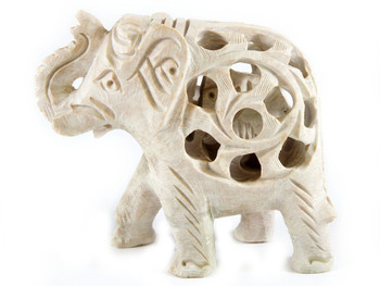 Beautifully handcarved Elephant (off White)