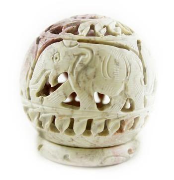 Hand carved elephant design stone candle holder