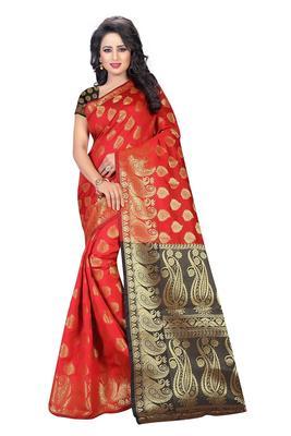 Red printed banarasi silk saree with blouse