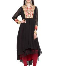 Buy Black embroidered georgette stitched long-kurtis long-kurti online
