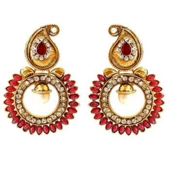 Red Paisely Round Stone Earring