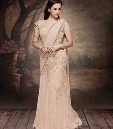 Buy Peach embroidered net saree with blouse pre-stitched-saree online
