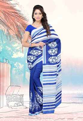 Petra Fab Blue Colored Faux Georgette Printed Saree