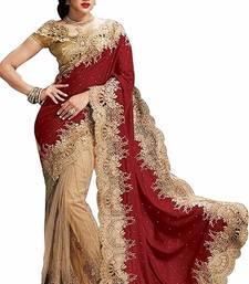 Buy Red plain velvet saree with blouse net-saree online