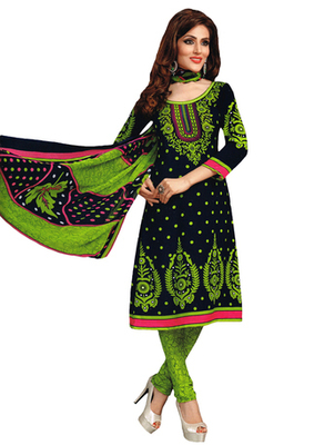 Black & Green Art Crepe unstitched churidar kameez with dupatta