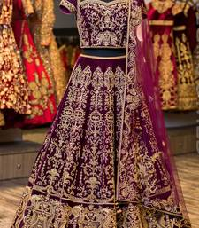 Buy Violet embroidered satin unstitched lehenga with dupatta lehenga online
