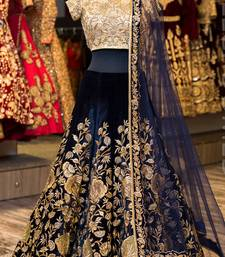Buy Navy blue embroidered velvet unstitched lehenga with dupatta lehenga online