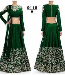 Buy Green embroidered silk unstitched lehenga with dupatta lehenga online