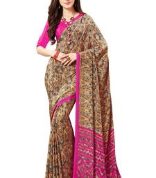 Buy brown printed crepe saree with blouse wedding-saree online