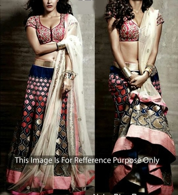 Pink And Golden with Embroidery Multi Thread work Neha Dhupia Lehenga