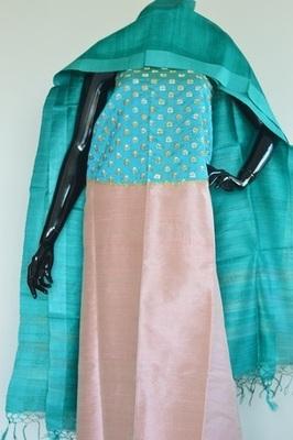 Light Pink colour, patch work, Raw silk, silk churidhar, party-wear-salwar-kameez