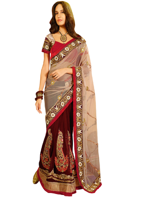 NET PALLU AND GEORGETTE SKIRT SAREE