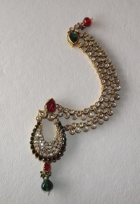 Red & Green Lucknowi Style Jhoomar Cum Maang Tikka  with Matha Patti in American Diamonds