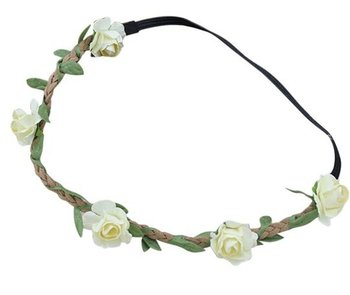 Mini Rose Hairwreath ( White )