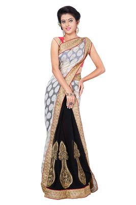Black & White Semi Chiffon Traditional Wear Embroidered Sarees With Unstitched Blouse