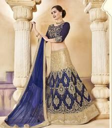 Buy Dark blue embroidered silk unstitched lehenga ethnic-lehenga online