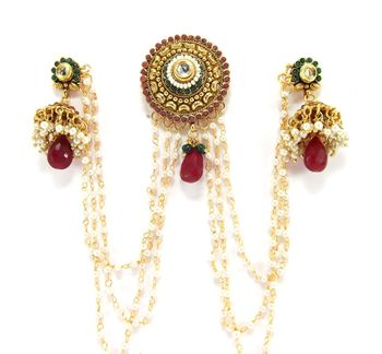 ruby emerald pearl bridal gold plated bun pin earring