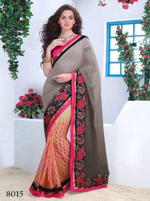 Multicolor georgette Embroidery Work Saree with blouse piece