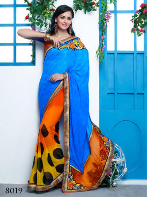 Orange & Blue georgette Embroidery Work Saree with blouse piece