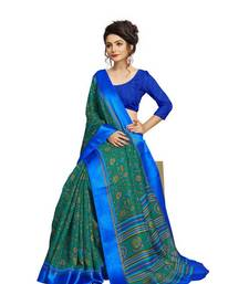 Buy Green printed linen saree with blouse linen-saree online