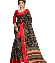 Buy Black printed linen saree with blouse linen-saree online