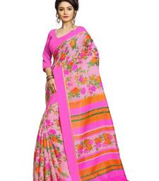 Buy Pink printed linen saree with blouse linen-saree online